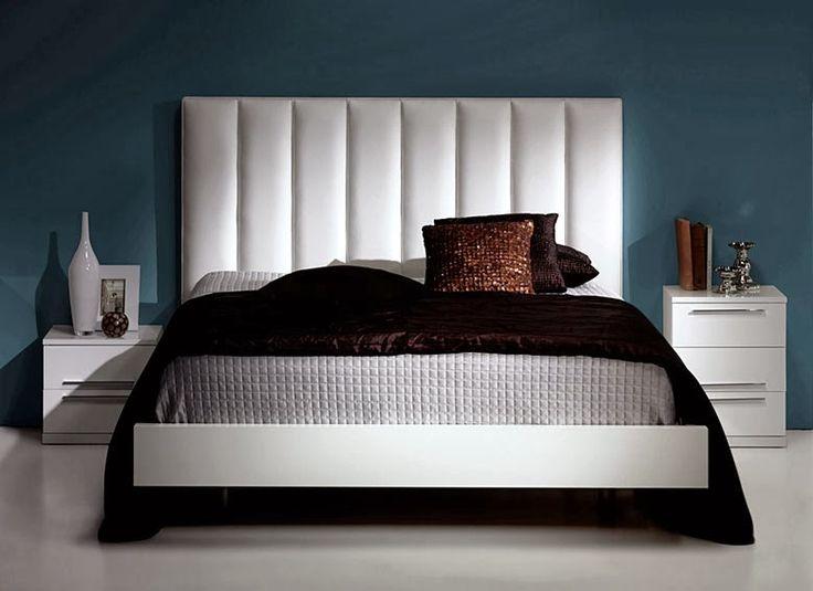 Cabecero tapizado acolchado vertical color blanco - Cabecero tapizado blanco ...