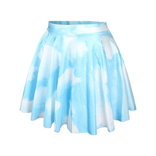 Girls Pastel Color Stretch Pleated Mini Skirt Blue Sky Wh...…