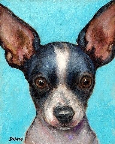 Chihuahua Dog Art Print of Original Painting by Dottie Dracos pinned By http://Barkingstud.com