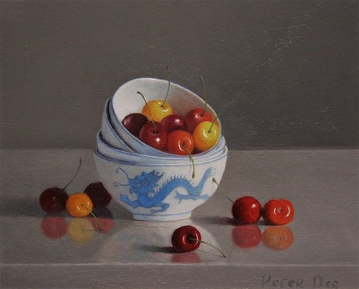 Cherries with Stacked Bowls
