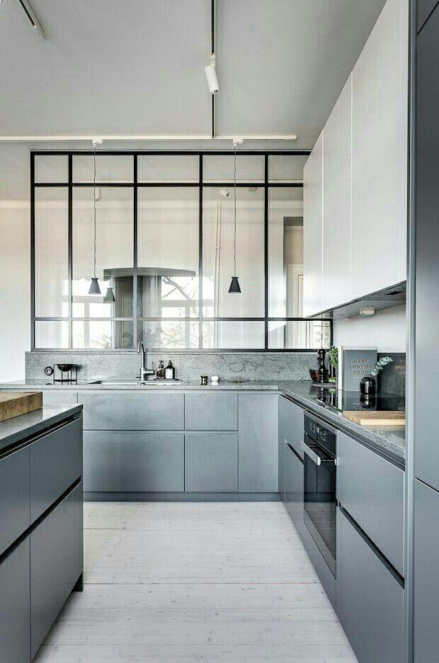 Modern grey kitchen Scandinavian style