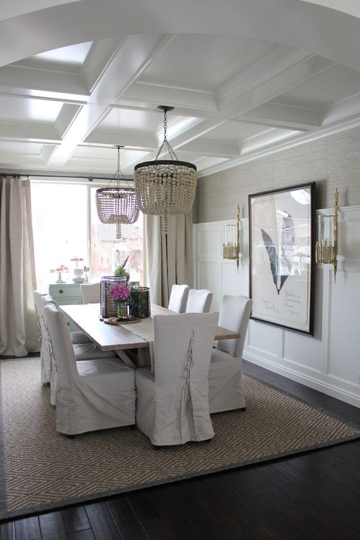 Wainscoting dining room wallpaper - Show N Tell England Residence Grasscloth Dining Roomdining Room Wallpaperdining