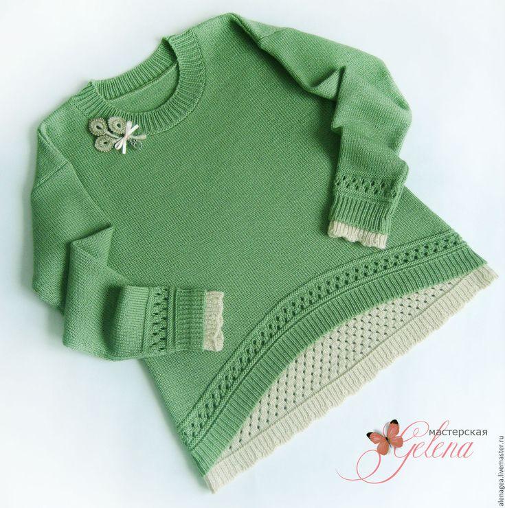 """Купить Джемпер для девочки """"Лесная фея"""" - оливковый, однотонный, пуловер вязаный, пуловер для девочки"""