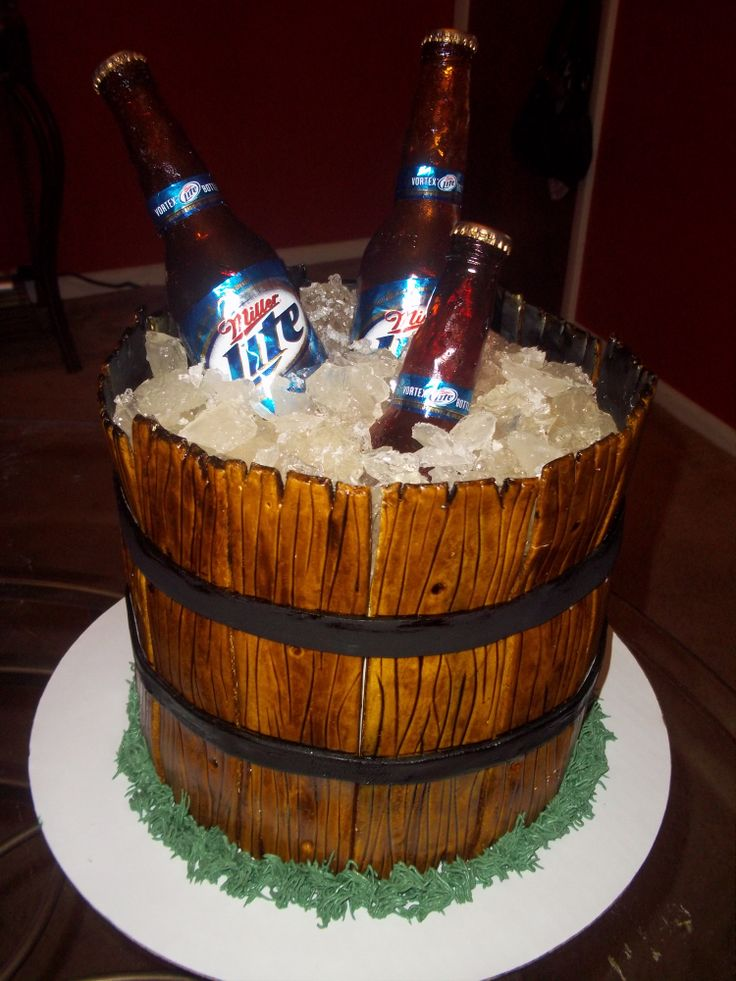Miller Lite Beer Bucket - Just another Beer Bucket cake to add to the many on here. Edible bottles, real labels...