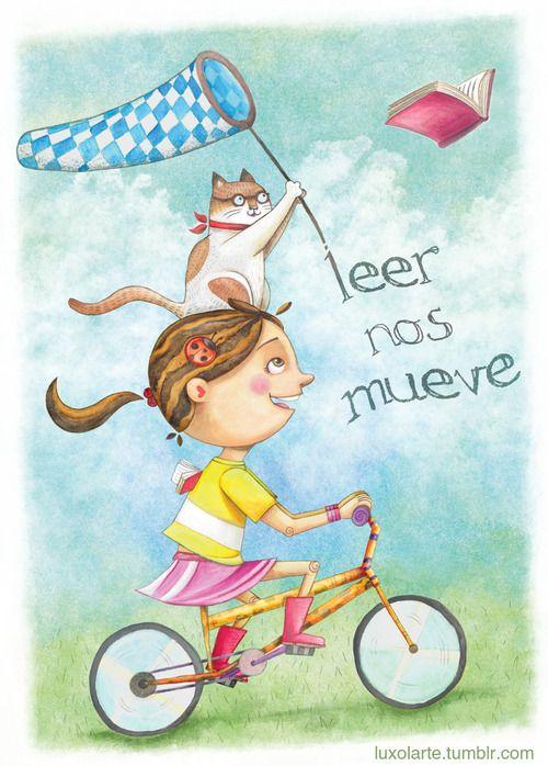 """""""Leer nos mueve"""" (Read moves us) Cartel seleccionado en el XXIV Concurso Nacional de Cartel Invitemos a Leer. 2012  @Carmina Valdizan @Mafer Peter @Luis Barrueto"""