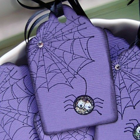 Pete the Purple Spider Halloween Gift Tags Set of 6 by BuncoBettys, $3.50