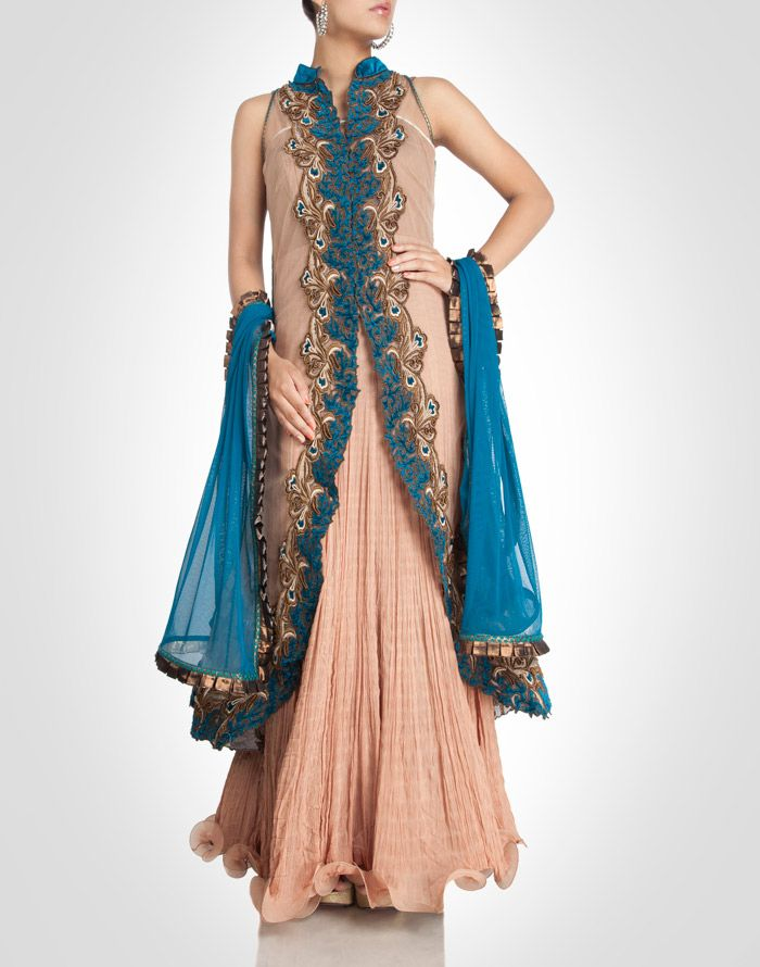 Chiffon anarkali in pastel tone with a jacket embroidery in teal. Shop Now: www.kimaya.in
