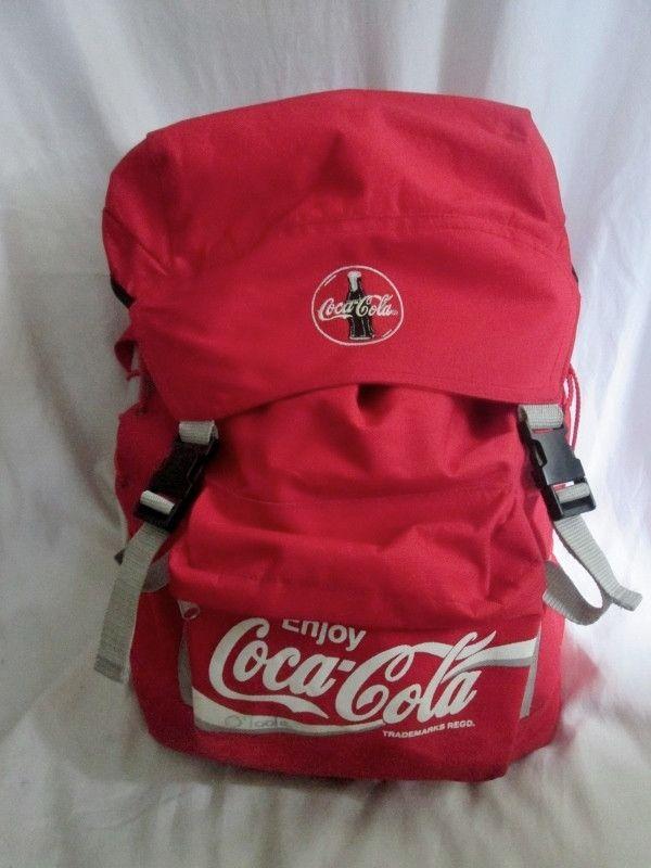 ENJOY COCA COLA BACKPACK Shoulder Rucksack Travel BAG RED Vegan Canvas