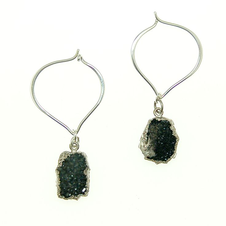 Charcoal Druzy with Sterling Silver Earrings (E2059R) $80