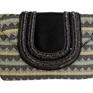 Aztec Print Sequinned Clutch Handbag