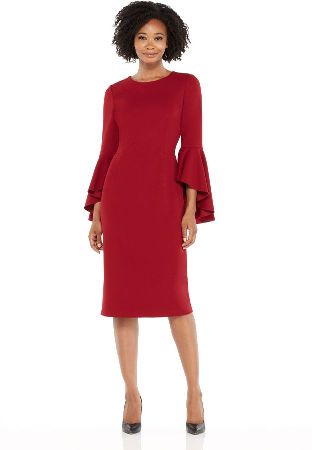 #MaggyLondon Sasha Midi - Garnet #dress #reddress #officecloths #winteroutfits #workfashion