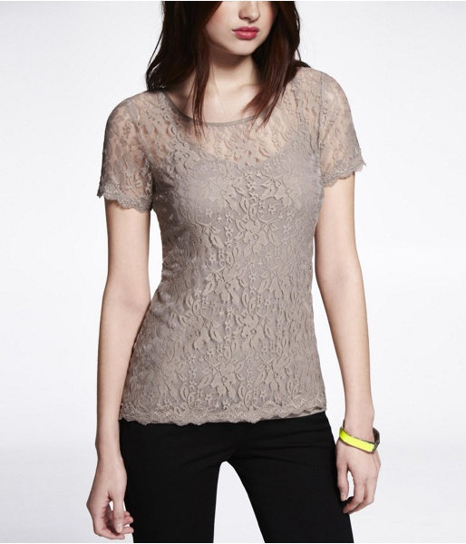 Express Womens Stretch Lace Short Sleeve Shell Top Panama Beige,