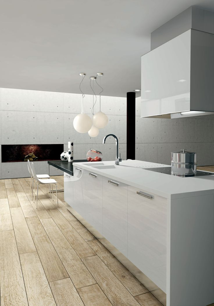 White acrylic doors. Korakril Bianco and Porfido Viola worktop. #ArritalCucine #Kculture #modern #kitchen #Light