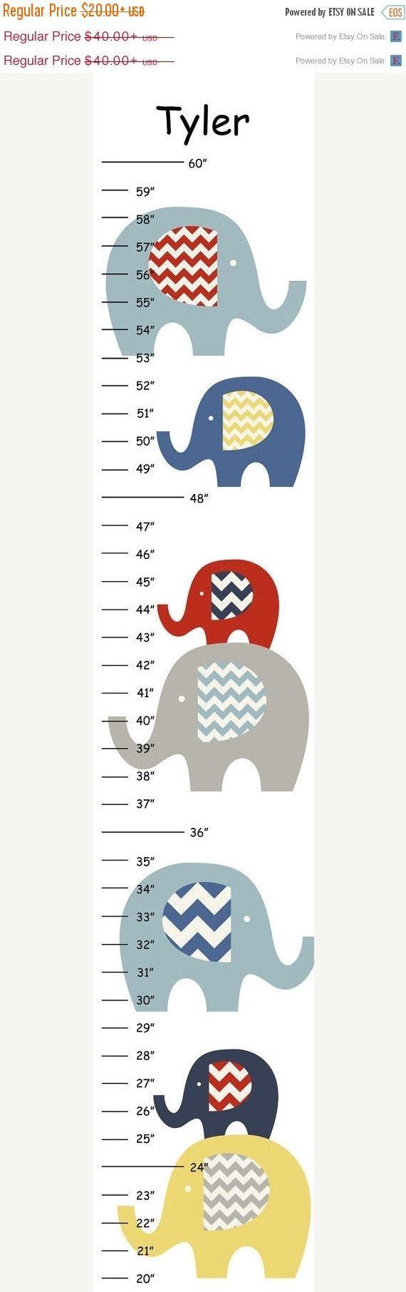 A la venta personalizada Chevron amarillo rojo azul elefantes lienzo tabla de crecimiento