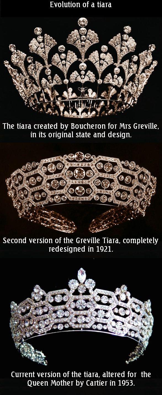 La tiara Greville Tiara (también llamado Boucheron o Honeycomb Tiara). A su muerte Margaret Greville dejó algunas de sus joyas a la reina Isabel, la Reina Madre. Las joyas se mantuvieron en sus cajas durante varios años porque al rey gustaba aceptar regalos de particulares. La reina finalmente utilizó la tiara de la señora Greville por primera vez en 1947. Más tarde, fue transformada por Cartier con la línea geométrica estricta y añadió diamantes en la parte superior.