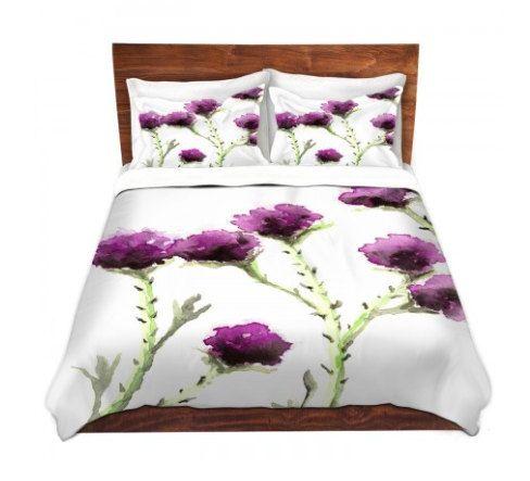 Duvet Set Floral Milk Thistle Painting - Nature Modern Bedding - Queen Size Duvet Cover - King Size Duvet Cover