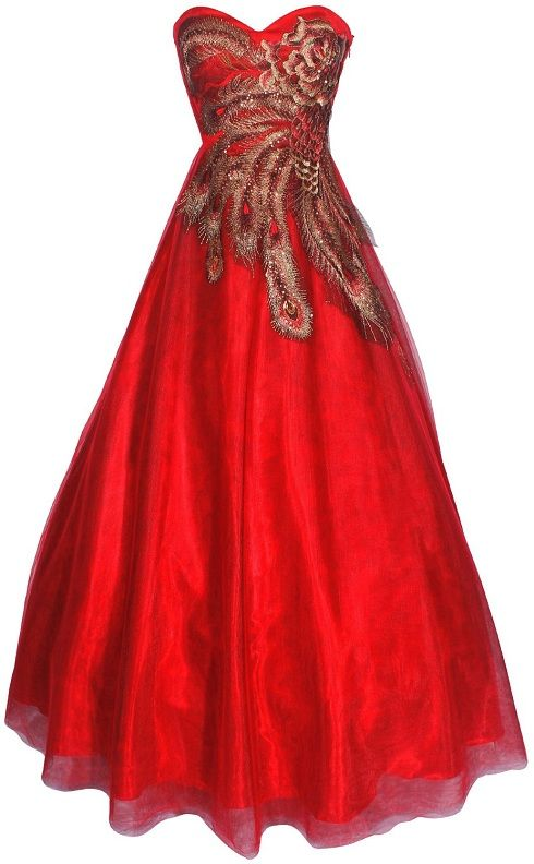 Red And Black Gold Peacock Ball Gowns Prom Dresses 2013