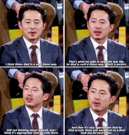 Steven talking about Glenn's death