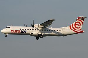 The ATR 72 is a twin-engine turboprop short-haul regional airliner built by the French-Italian aircraft manufacturer ATR. A stretched variant of the ATR 42, the aircraft seats up to 74 passengers in a single-class configuration, and is operated by a two-pilot crew.The 72 was announced in 1986,[3] and made its maiden flight on 27 October 1988.