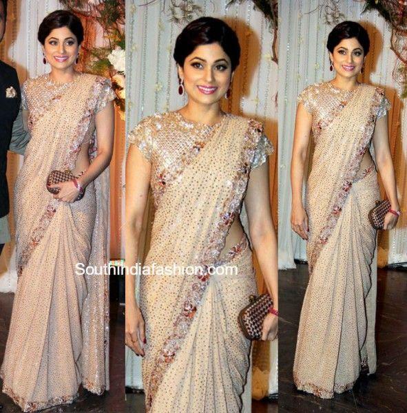 Shamita Shetty in Manish Malhotra Saree at Bipashas Wedding Reception photo