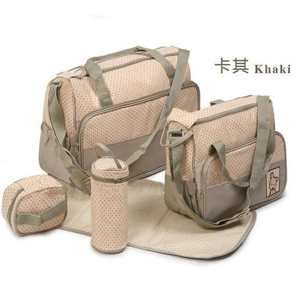 6 Colors 5PCS/Kit 2014 New Fashion High Quality Tote Baby Products Maternity Shoulder Durable Diaper Bags Nappy Mummy Bags