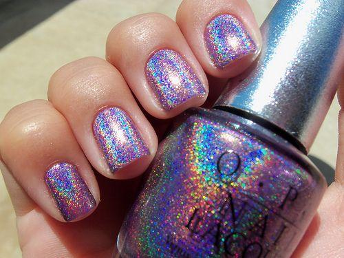 Very pretty! I LOVE OPI: Nails Art, Nail Polish, Nails Colors, Makeup, Nailpolish, Glitter Nails, Nails Polish, Holographic Nails, Rainbows Nails