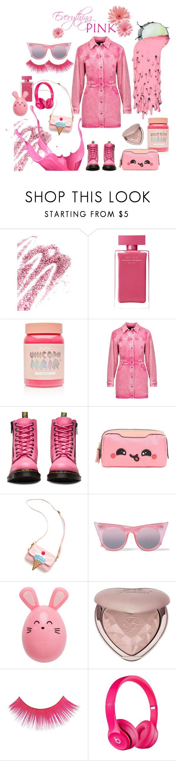 """""""Everything Pink!"""" by marilyn-montoto on Polyvore featuring Obsessive Compulsive Cosmetics, Narciso Rodriguez, Lime Crime, Roberto Cavalli, Dr. Martens, Anya Hindmarch, OOAHOOAH, Le Specs and Too Faced Cosmetics"""