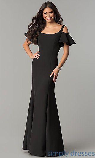Cold Shoulder Long Formal Dress With Flutter Sleeves Mother Of The