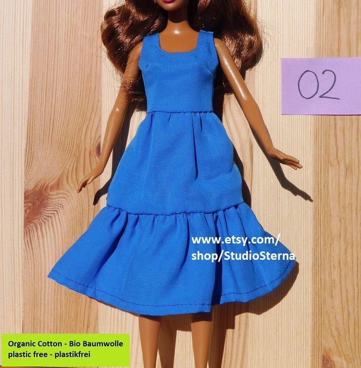 barbie kleid puppe kleidung blau weicher tencel breiter rock