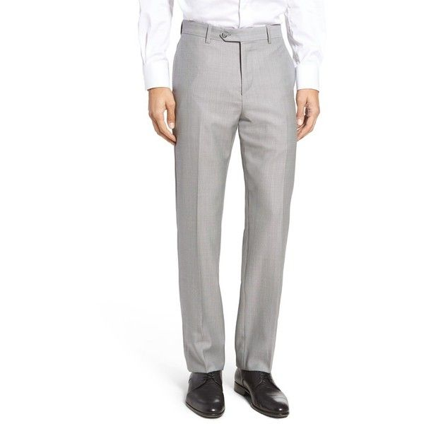 Men's John W. Nordstrom Flat Front Solid Wool Trousers ($199) ❤ liked on Polyvore featuring men's fashion, men's clothing, men's pants, men's dress pants, pearl grey, mens pants, mens dress pants, mens wool dress pants, mens grey dress pants and mens wool pants