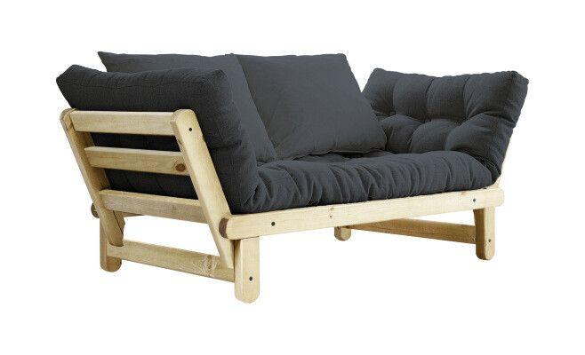 Divano letto Beat con 2 cuscini, grigio, colore naturale  162/200 x 80 cm