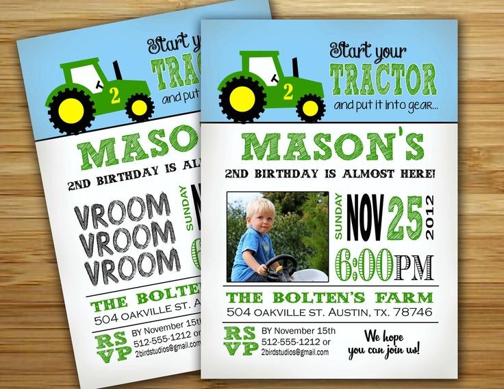 Tractor Birthday Party Invitation / invite - Personalized DIY green tractor birthday party decorations. $18.00, via Etsy.
