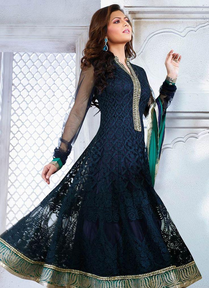 Alluring Madhubala Blue Net Anarkali Suit