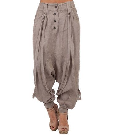 Look at this #zulilyfind! Taupe Button-Front Linen Harem Pants - Plus Too #zulilyfinds