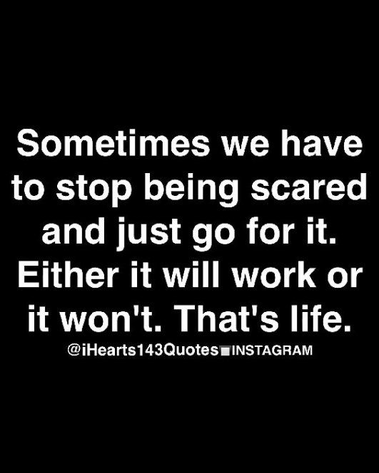 sometimes we have to stop being scared and just go for it. either it will work or it won't. that's life.