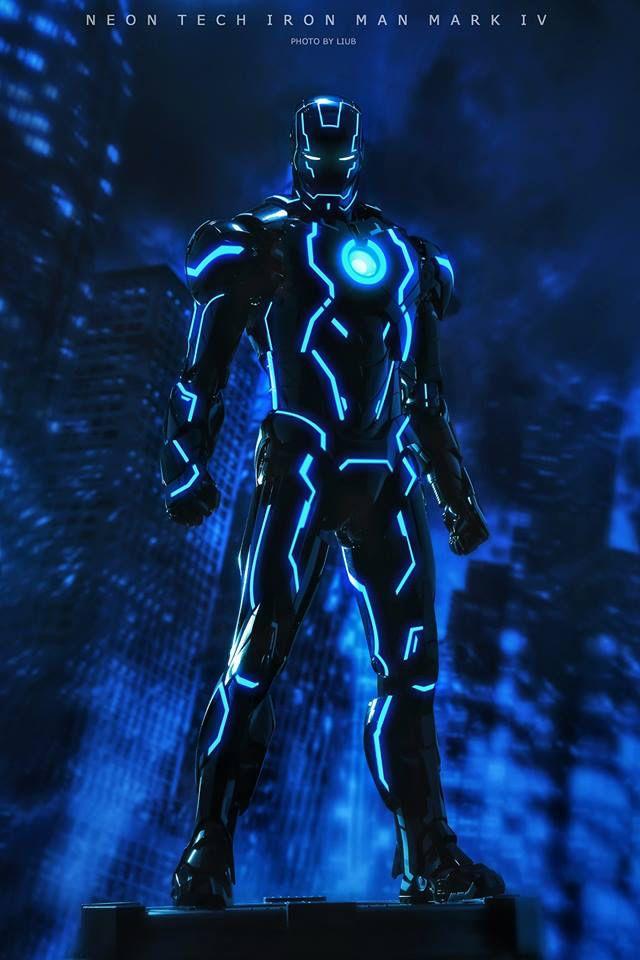 Neon Tech Iron Man Wallpaper
