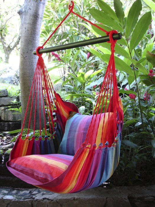 A very colorful hammock.