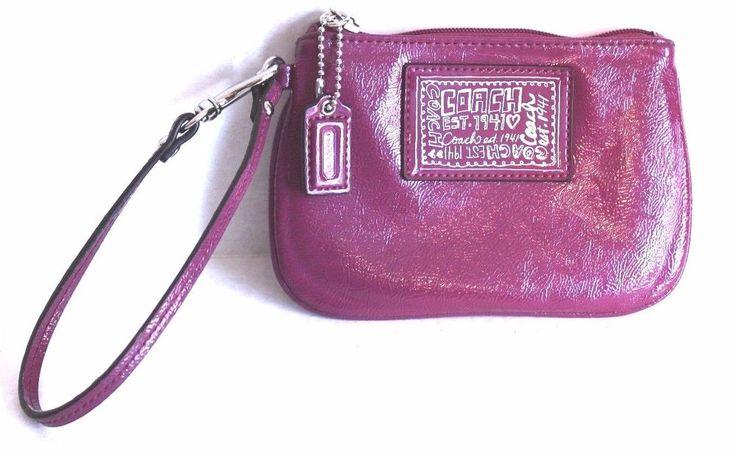 Coach Poppy Wallet Wristlet Coin Purse Purple Grape Patent Leather Silver Lining #Coach #Wristlet