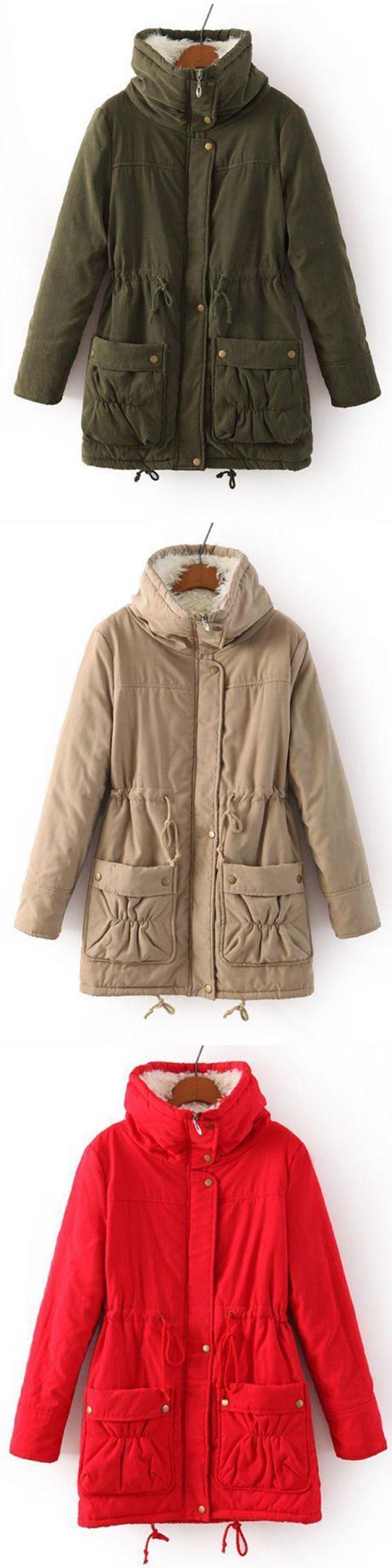 Casual loose solid color drawstring waist thicken hooded women coats k9 coats #coats #and #clark #coats #hand #quilting #thread #g #star #coats #r #c #boats