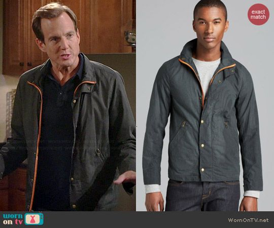 Nathan's grey jacket with orange trim on The Millers.  Outfit Details: http://wornontv.net/40168/ #TheMillers