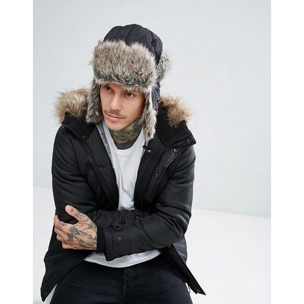 Schott Faux Fur Trapper Hat in Black (731.980 IDR) ❤ liked on Polyvore featuring men's fashion, men's accessories, men's hats, black, mens earflap hat, mens faux fur hats, mens ear flap hats and 1920s mens hats