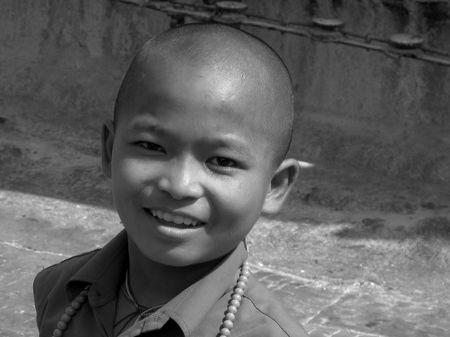 Swayambhunath Kathamndu - Smiling Monk, by Emanuele Del Bufalo