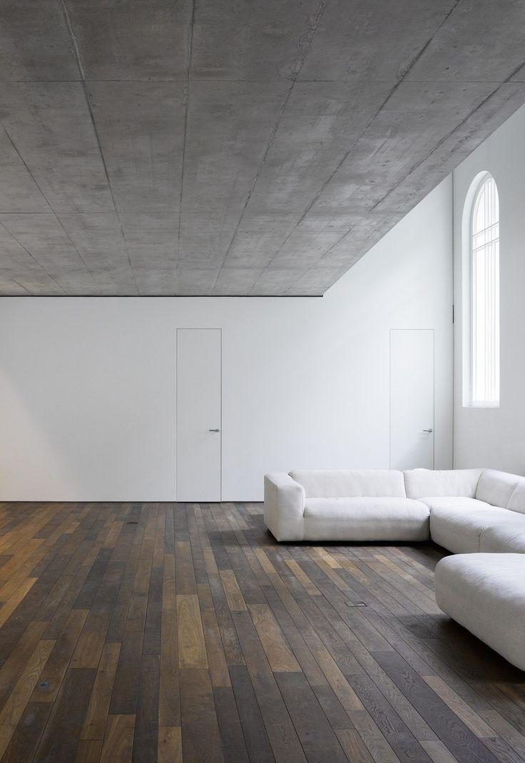 Wood Floor White Wall Concrete Ceiling Concrete