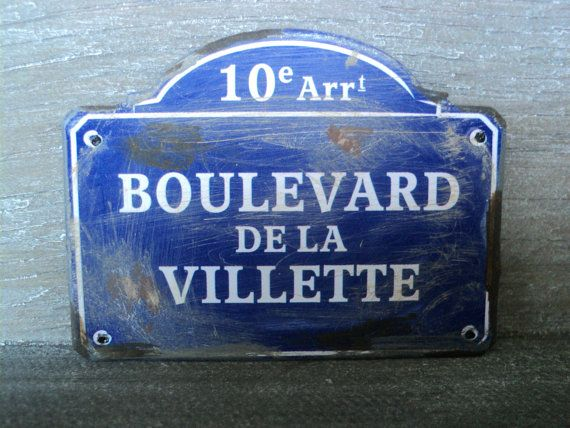 """Dollhouse miniature French street name sign in 1"""" or 1:12 scale"""