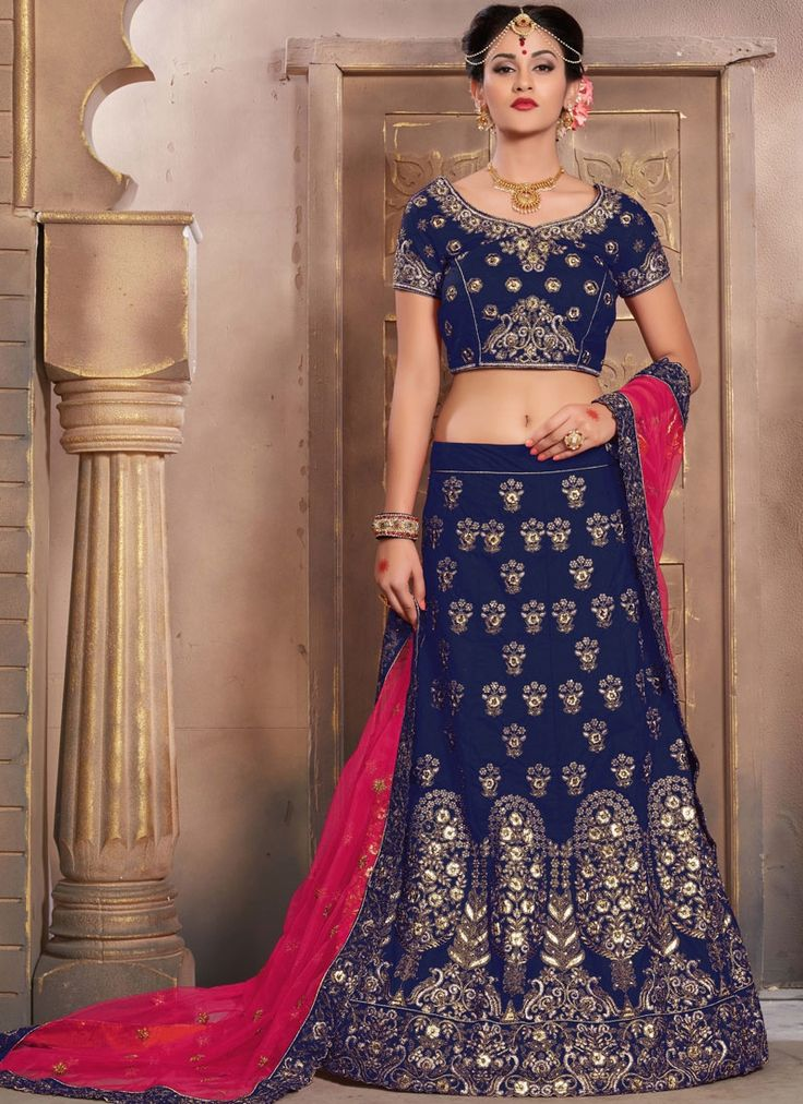 Exclusive collection & offers to buy bridal lehenga choli online for wedding. Buy this sterling navy blue art silk lehenga choli.