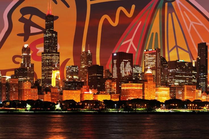 Chicago Blackhawks Skyline Poster   eBay