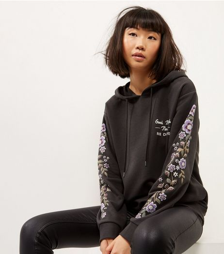 Dark Grey Floral Embroidery Printed Sleeve Hoodie | New Look