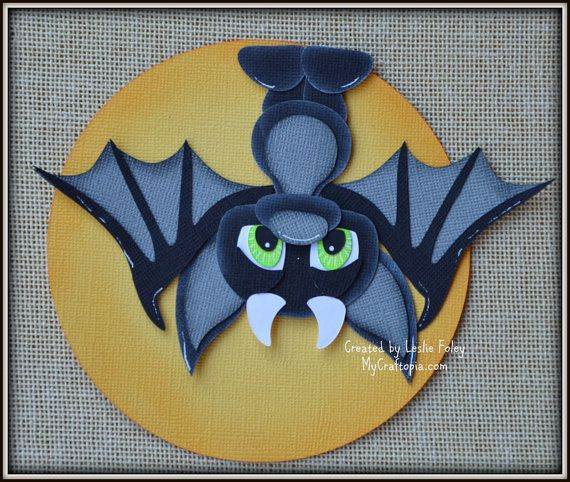 Hanging bat Halloween premade scrapbooking by MyCraftopia on Etsy
