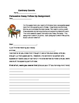 Argument essay assignment instructions