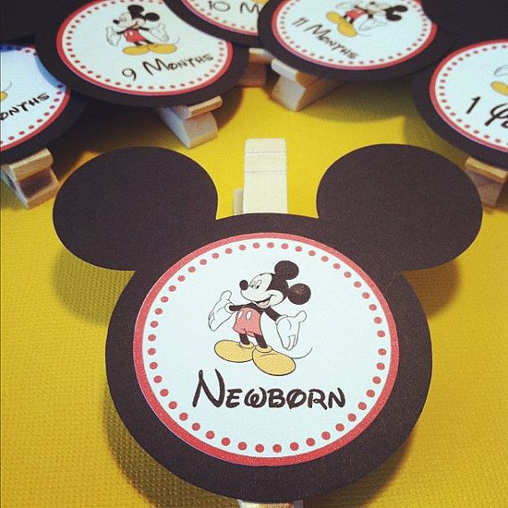 Mickey Mouse - First Year Photo Clips - First Year Banner - Disney Party - set of 13 on Etsy, $12.00